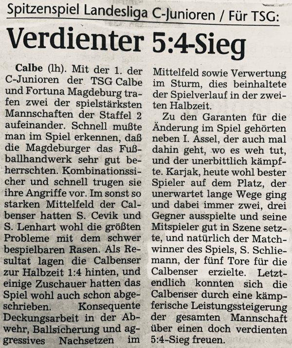 Artikel über den starken 5:4-Sieg gegen den abschließenden Tabellenzweiten der Landesligasaison 1998/1999.