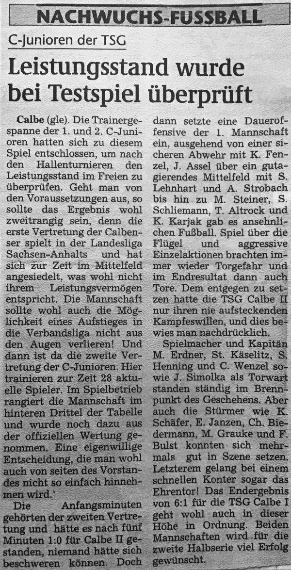 Artikel zum Vergleich der 1. und 2. C-Jugendmannschaft vor dem Rückrundenstart.