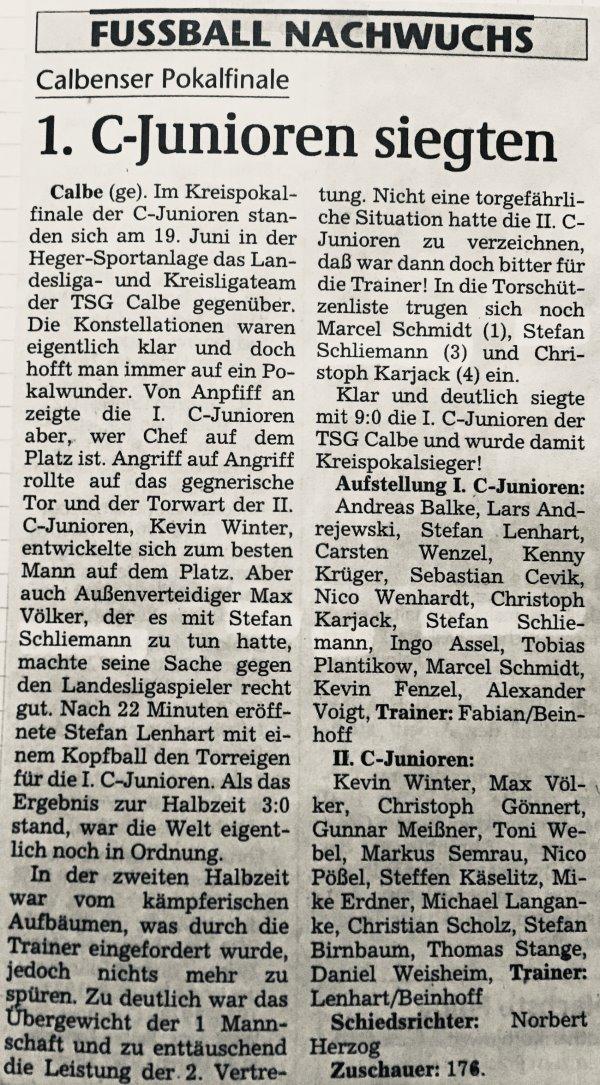Artikel zum Kreispokalfinale zwischen der ersten und zweiten Vertretung der C-Jugend der TSG Calbe.