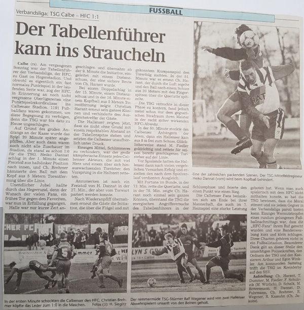 Volksstimme-Bericht zum  Heimspiel der TSG calbe gegen den Halleschen Fußballclub am 13. November 1999.