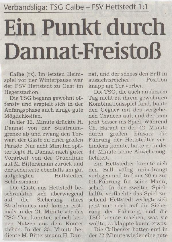 Volksstimme-Bericht zum 16. Spieltag (Teil 1).