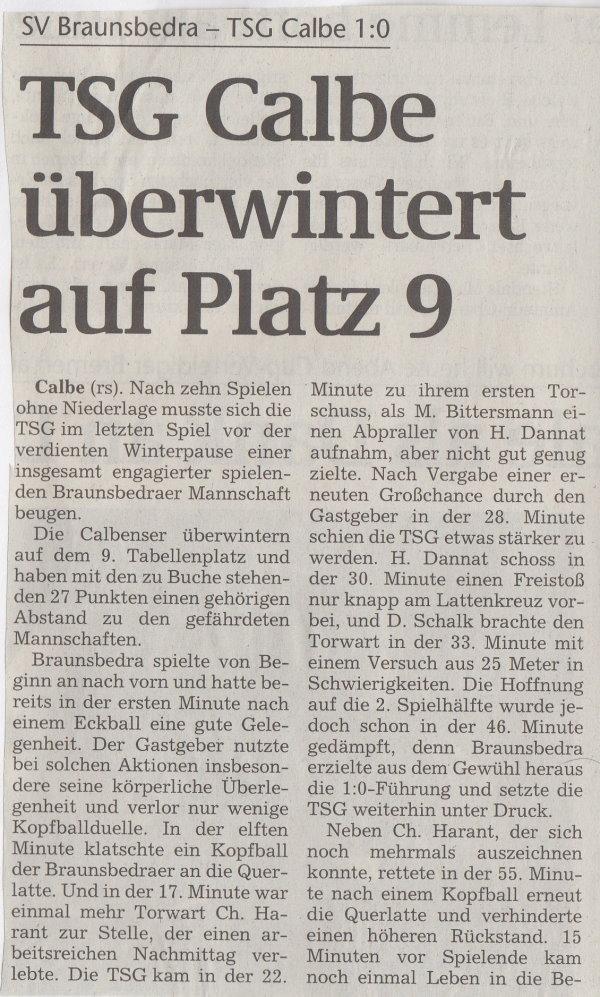 Volksstimme-Bericht zum 17. Spieltag (Teil 1).