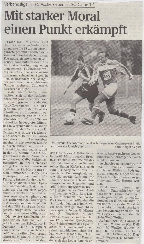 Volksstimme-Bericht zum 18. Spieltag.