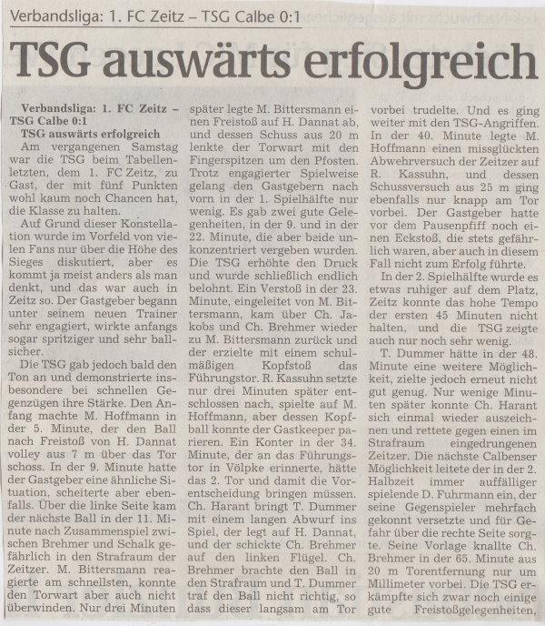 Volksstimme-Bericht zum 24. Spieltag (Teil 1).