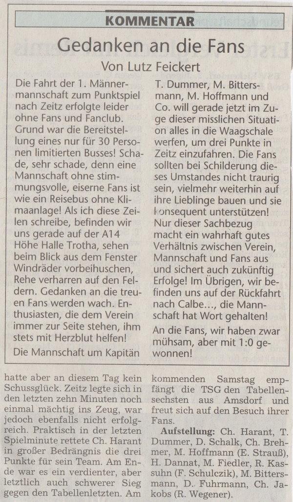 Volksstimme-Bericht zum 24. Spieltag (Teil 2).