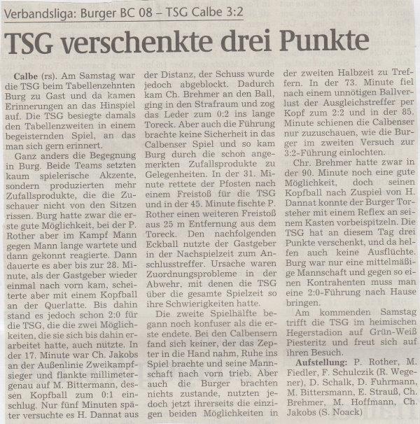 Volksstimme-Bericht zum 26. Spieltag.