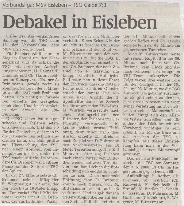 Volksstimme-Bericht zum 28. Spieltag.