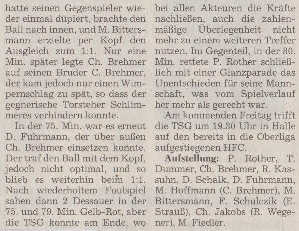 Volksstimme-Bericht zum 29. Spieltag (Teil 2).