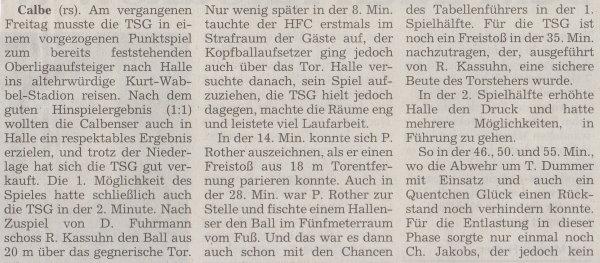 Volksstimme-Bericht zum 30. Spieltag (Teil 1).
