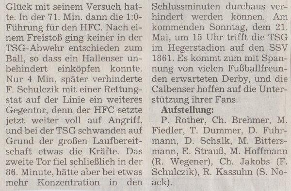 Volksstimme-Bericht zum 30. Spieltag (Teil 2).