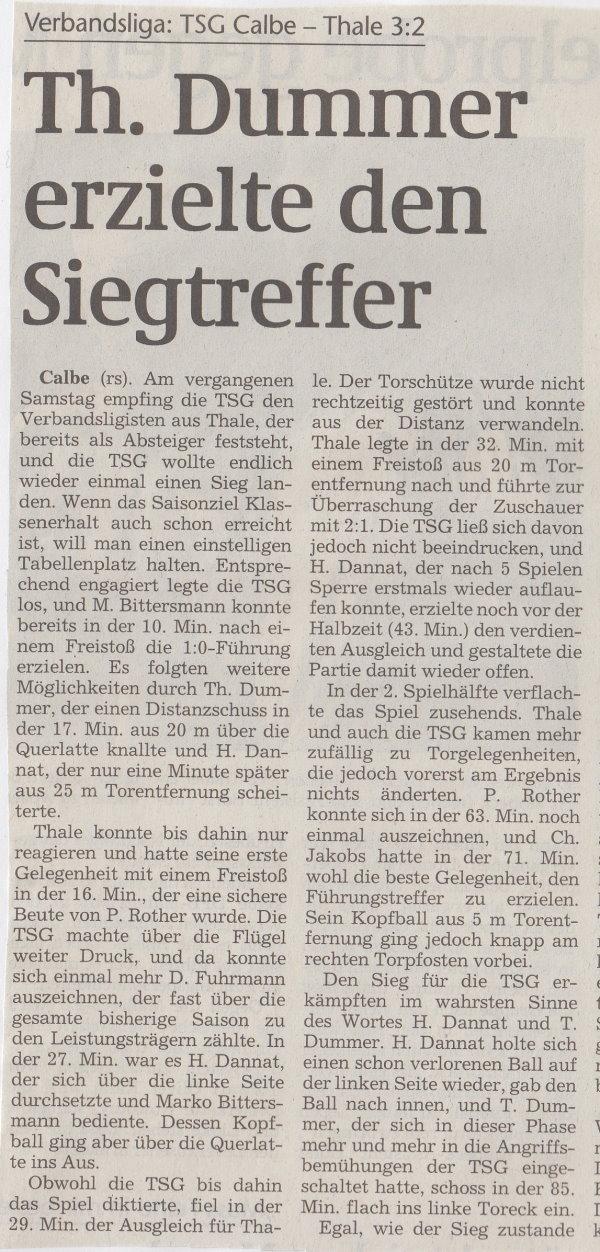 Volksstimme-Bericht zum 32. Spieltag (Teil 1).