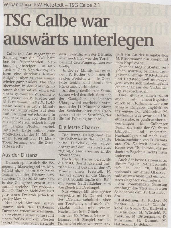 Volksstimme-Bericht zum 33. Spieltag.