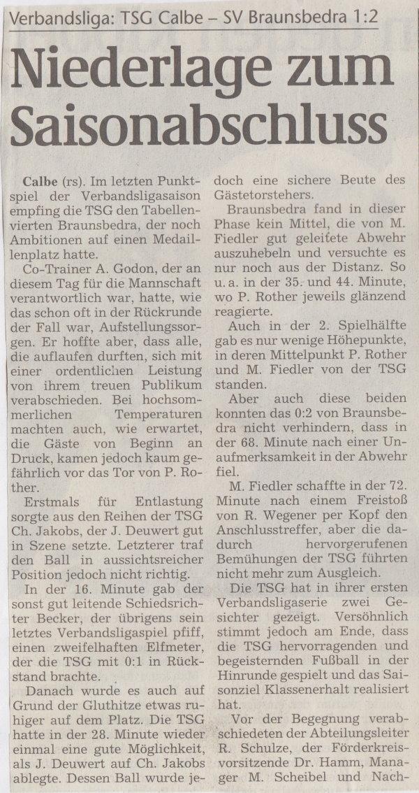 Volksstimme-Bericht zum 34. Spieltag (Teil 1).
