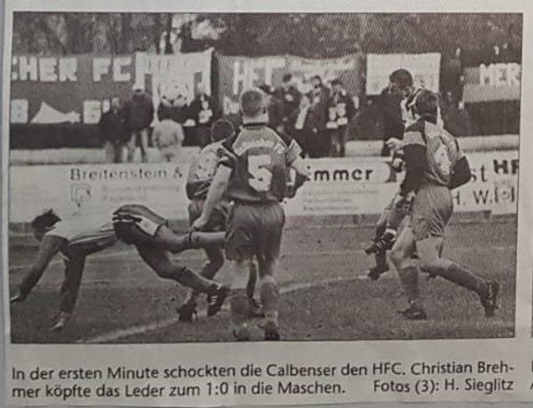 Volksstimme-Bericht zum Heimspiel der TSG Calbe gegen den Halleschen Fußballclub am 13. November 1999 (Teil 1).