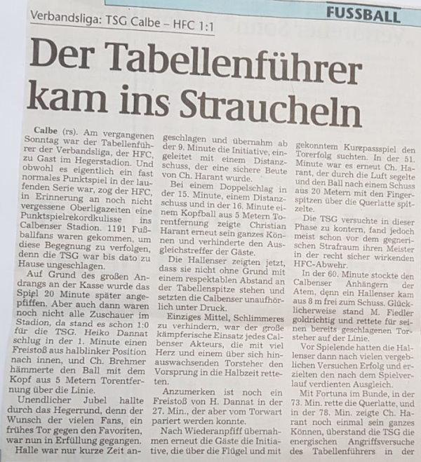 Volksstimme-Bericht zum Heimspiel der TSG Calbe gegen den Halleschen Fußballclub am 13. November 1999 (Teil 3).