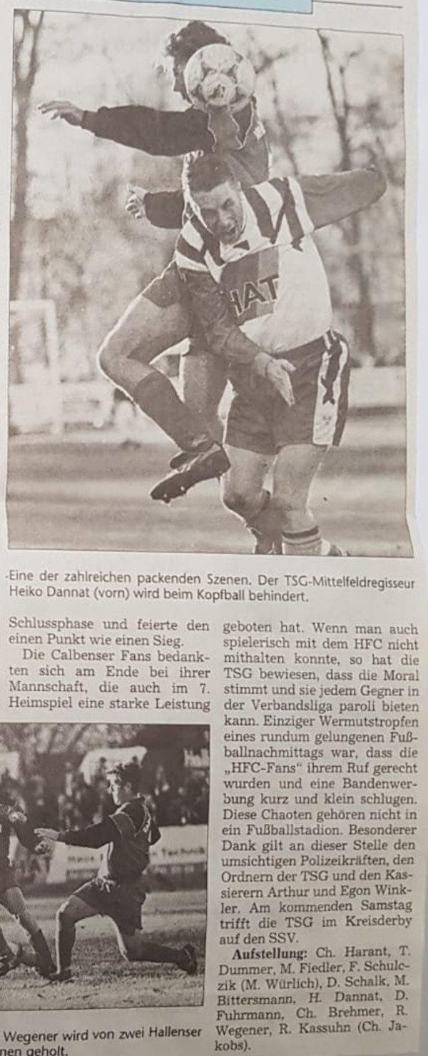 Volksstimme-Bericht zum Heimspiel der TSG Calbe gegen den Halleschen Fußballclub am 13. November 1999 (Teil 4).