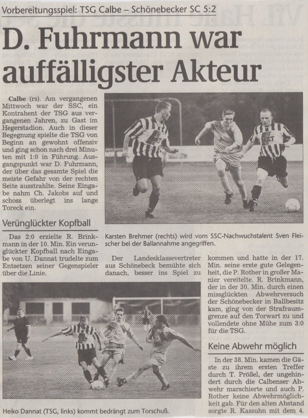 Volksstimme-Bericht vom Vorbereitungsspiel gegen den Schönebecker SC (Teil 1).