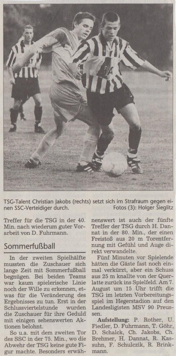 Volksstimme-Bericht vom Vorbereitungsspiel gegen den Schönebecker SC (Teil 2).