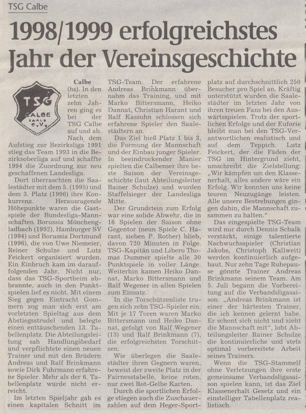 Volksstimme-Sonderbeilage zur Saison 1999/2000 (Teil 1).