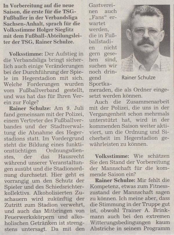 Volksstimme-Sonderbeilage zur Saison 1999/2000 (Teil 6).