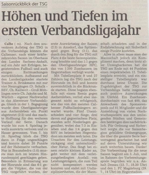 Volksstimme-Artikel zur Saisonauswertung der Verbandsligasaison 1999/2000.