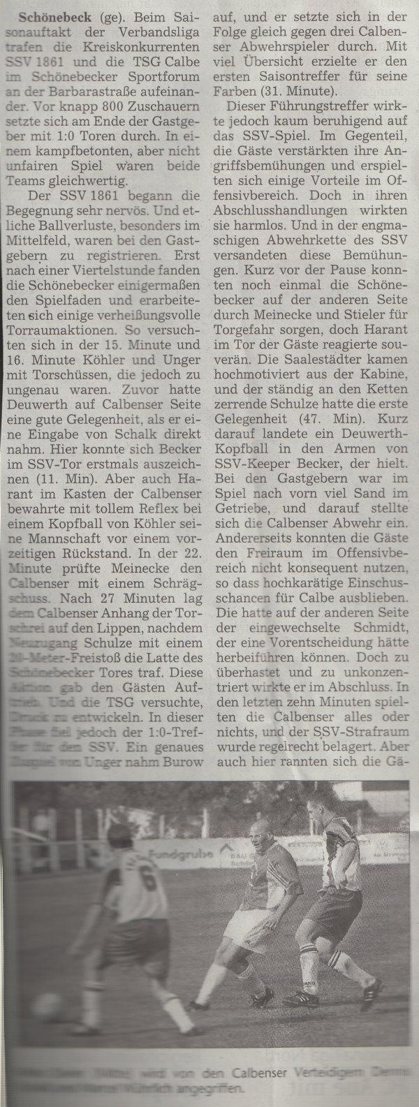 Volksstimme-Artikel zum Spiel vom 12. August 2000 (Teil 1).