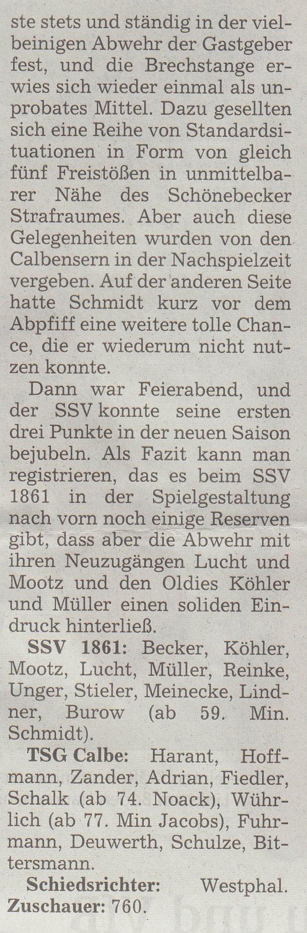 Volksstimme-Artikel zum Spiel vom 12. August 2000 (Teil 2).