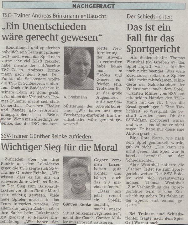 Volksstimme-Artikel zum Spiel vom 12. August 2000 (Teil 4).