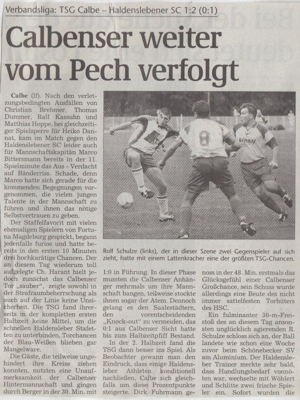Volksstimme-Artikel zum Spiel vom 19. August 2000 (Teil 1).
