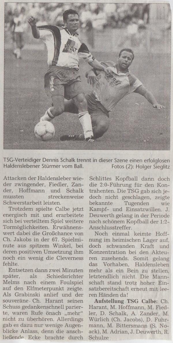 Volksstimme-Artikel zum Spiel vom 19. August 2000 (Teil 2).