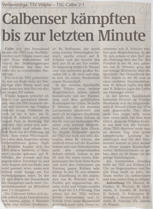 Volksstimme-Artikel zum Spiel vom 02. September 2000.