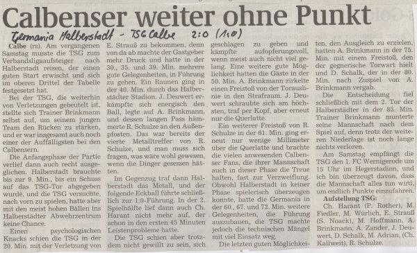 Volksstimme-Artikel zum Spiel vom 16. September 2000.