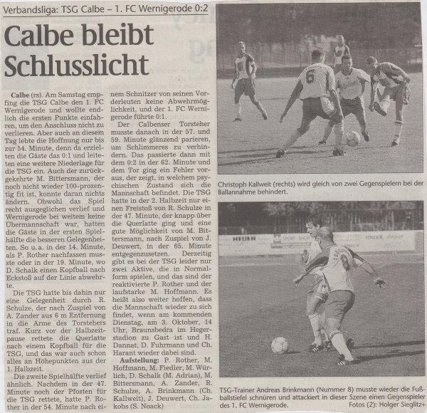 Volksstimme-Artikel zum Spiel vom 23. September 2000.