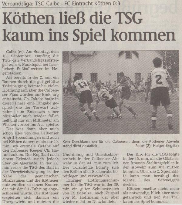 Volksstimme-Artikel zum Spiel vom 10. September 2000 (Teil 1).