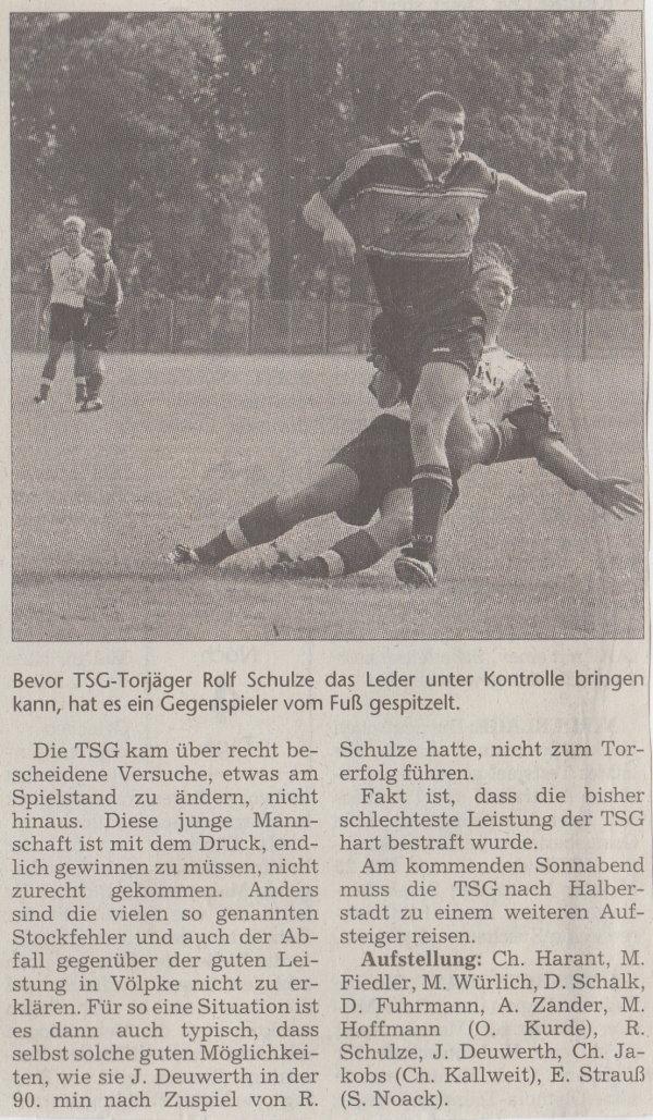 Volksstimme-Artikel zum Spiel vom 10. September 2000 (Teil 2).