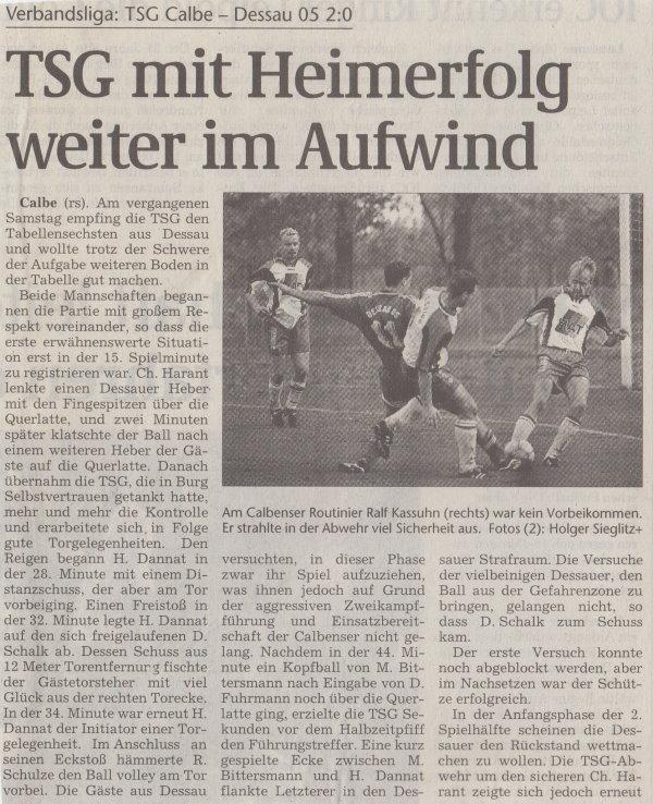Volksstimme-Artikel zum Spiel vom 16. September 2000 (Teil 1).