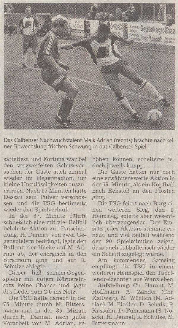 Volksstimme-Artikel zum Spiel vom 16. September 2000 (Teil 2).