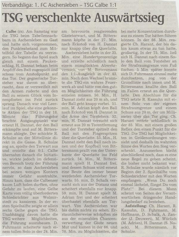 Volksstimme-Artikel zum Spiel vom 04. November 2000.