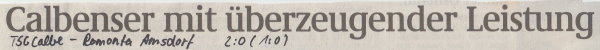 Volksstimme-Artikel zum Spiel vom 11. November 2000 (Überschrift).