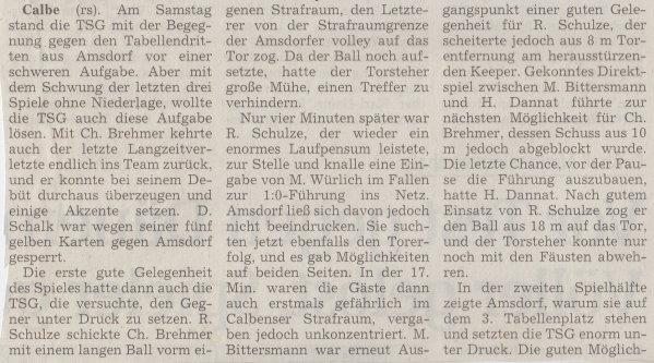 Volksstimme-Artikel zum Spiel vom 11. November 2000 (Teil 1).