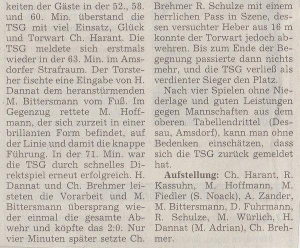 Volksstimme-Artikel zum Spiel vom 11. November 2000 (Teil 2).