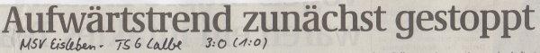 Volksstimme-Artikel zum Spiel vom 18. November 2000 (Überschrift).