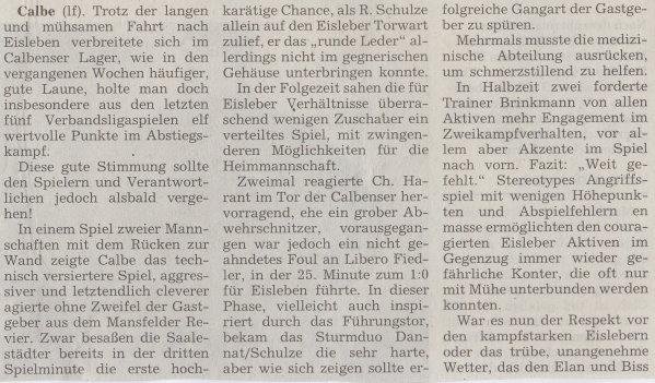 Volksstimme-Artikel zum Spiel vom 18. November 2000 (Teil 1).