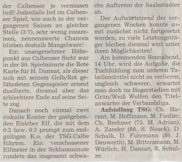 Volksstimme-Artikel zum Spiel vom 18. November 2000 (Teil 2).
