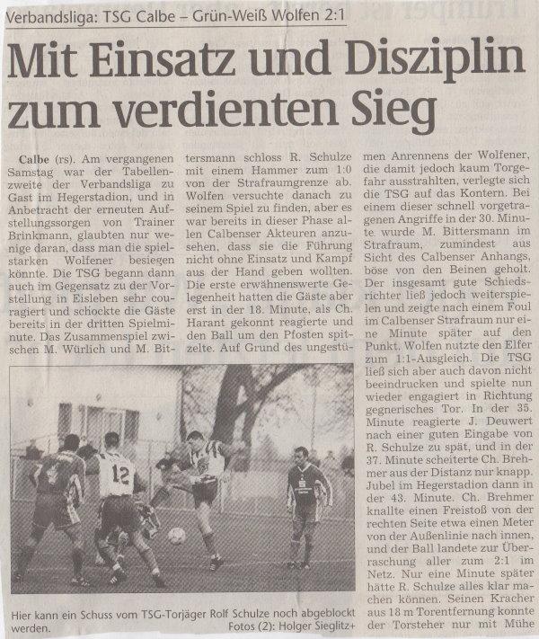 Volksstimme-Artikel zum Spiel vom 25. November 2000 (Teil 1).