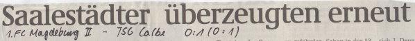 Volksstimme-Artikel zum Spiel vom 02. Dezember 2000 (Überschrift).