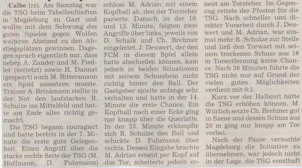 Volksstimme-Artikel zum Spiel vom 02. Dezember 2000 (Teil 1).