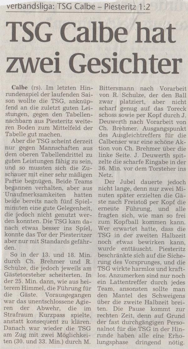 Volksstimme-Artikel zum Spiel vom 09. Dezember 2000 (Teil 1).