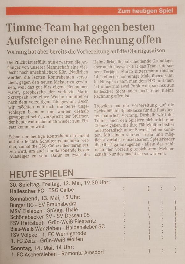 Vorankündigung zum Spiel mit der Vorstellung der Mannschaft von Andreas Brinkmann.