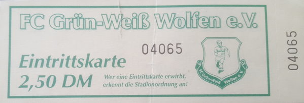 Eintrittskarte zum Auswärtsspiel in Wolfen.